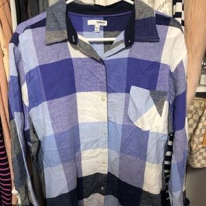 Blue checkered flannel